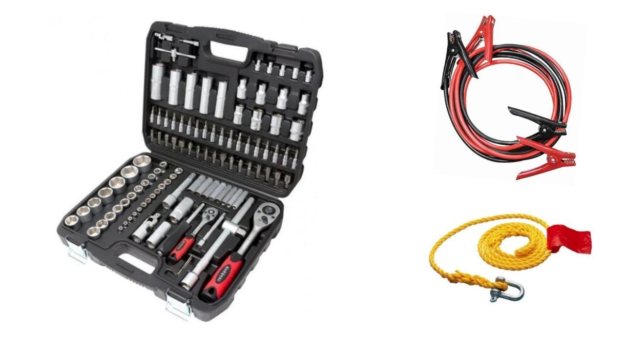 ხელსაწყოების ნაკრები 108 ცალიანი Marshall Red+ საბუქსირე თოკი და გადამყვანი!